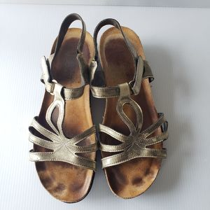 NAOT Gold Sandals 9 / 40 Women's Leather Shoes